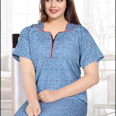 Feeling Cotton, Micro Polyester V Neck Printed A-line Nightgown's for Women Profile Picture